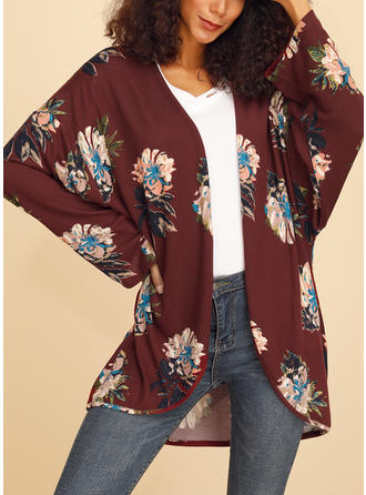 Cotton Blends Long Sleeves Print Floral Wide-Waisted Coats