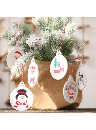 Feliz Navidad Monigote de nieve Reno Papa Noel Colgando De madera Colgante de navidad Adornos colgantes de árboles (Juego de 6)