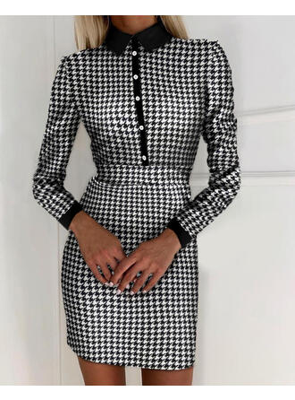 Print Short Sleeves Bodycon Above Knee Casual/Elegant Dresses