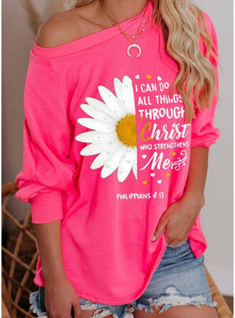 Print Sunflower Print Figur One Shoulder Lange ærmer Sweatshirts