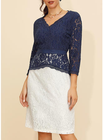 Lace/Color Block 3/4 Sleeves Sheath Knee Length Casual/Elegant Dresses