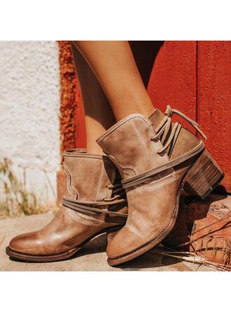 Mulheres PU Salto robusto Bombas Fechados Botas Bota no tornozelo Low Top Toe rodada com Aplicação de renda Cor sólida sapatos