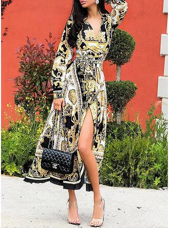 Print Long Sleeves/Lantern Sleeve A-line Casual/Boho/Vacation Midi Dresses