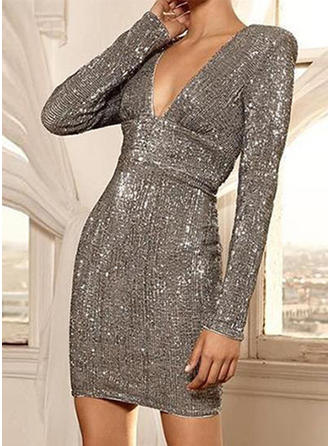 Sequins/Solid Long Sleeves Bodycon Above Knee Sexy/Party/Elegant Dresses