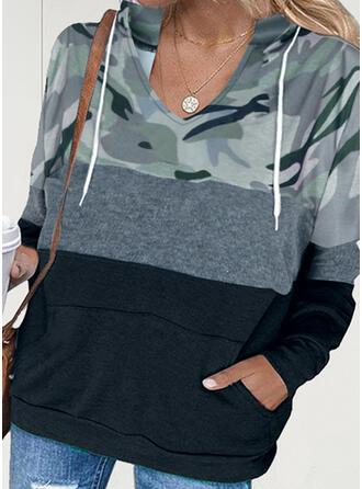 Print Color Block Camouflage Hooded Long Sleeves Hoodie