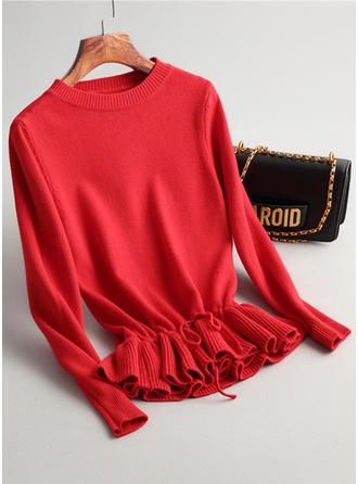 Robić na drutach Wycięcie pod szyją Jednolity kolor Swetry