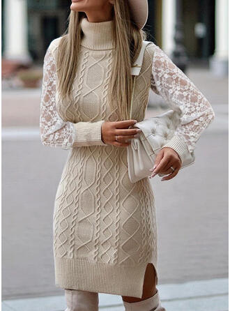 Lace/Solid Long Sleeves Sheath Above Knee Casual Sweater Dresses