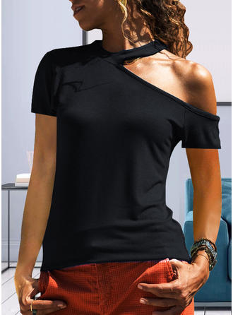 Solid One-Shoulder Short Sleeves Casual Knit T-shirt