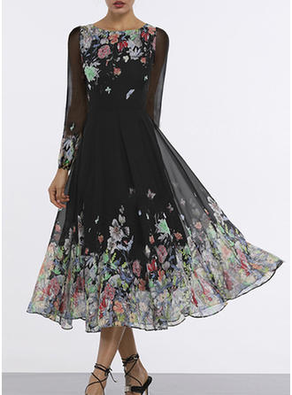 Nadrukowana/Kwiatowy Długie rękawy W kształcie litery A Midi Wintage/Casual/Elegancki/Boho Sukienki