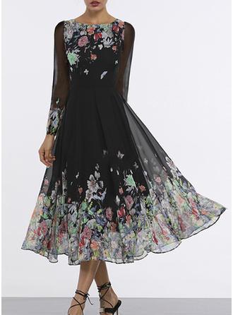 Print/Floral Long Sleeves A-line Midi Vintage/Casual/Elegant/Boho Dresses