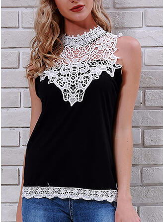 Patchwork Lace Stand collar Sleeveless Sexy Tank Tops