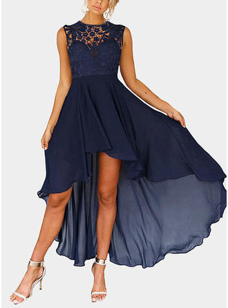 Lace Round Neck Asymmetrical A-line Dress