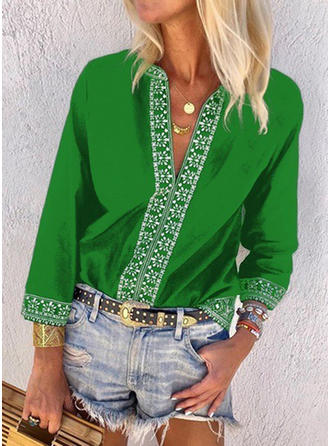 Plain V Neck Long Sleeves Casual Blouses