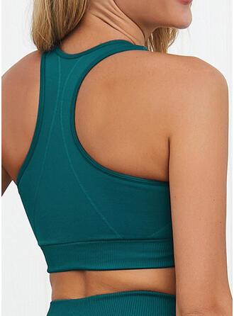 U-Neck Sleeveless Solid Color Sports Bras