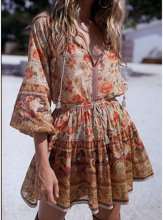 Print/Floral 3/4 Sleeves/Flare Sleeves A-line Above Knee Casual Dresses