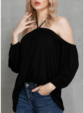 Solid Cold Shoulder Long Sleeves Casual Sexy Blouses (1003262976)