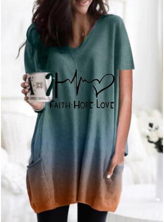 Figuur Verloop Hart Print Ronde Hals Korte Mouwen T-shirts