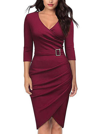 Solid 3/4 Sleeves Bodycon Asymmetrical Casual/Elegant Dresses
