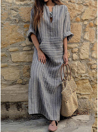 Striped Long Sleeves Shift Casual/Boho Maxi Dresses
