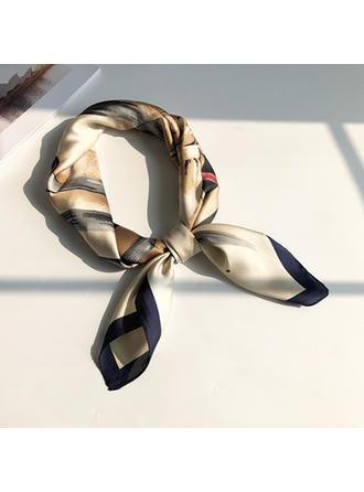 Geometric Print Neck/Square Silk Scarf