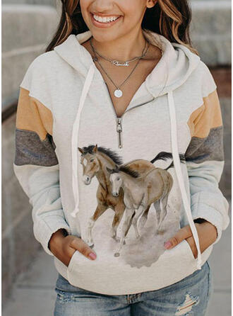 Colorido Animal Manga comprida Hoodie (1001326626)
