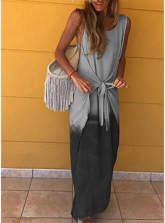 Nadrukowana Bez rękawów Pokrowiec Casual Maxi Sukienki