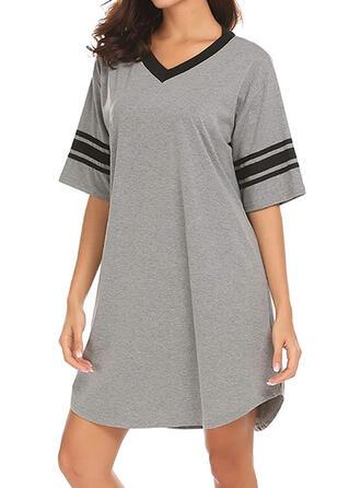 Modal Striped Plus Size Short Sleeves V Neck Night Dress