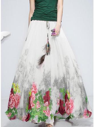 Gasa Impresión Floral Maxi Faldas A-Line