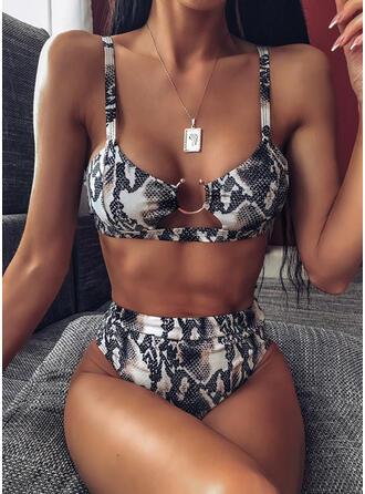 Color Sólido Pierna alta Correa Sexy Hermoso Clásico Bikinis Trajes de baño