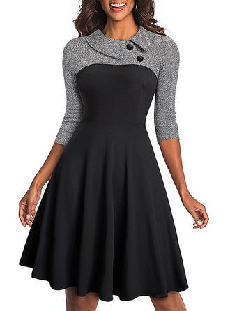 Solid Peter Pan Collar Knee Length A-line Dress