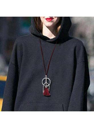 La modă Aliaj Rope din piele cu ciucuri Femei colier de moda