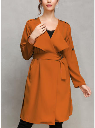 Cotton Blends Long Sleeves Plain Trench Coats Wide-Waisted Coats