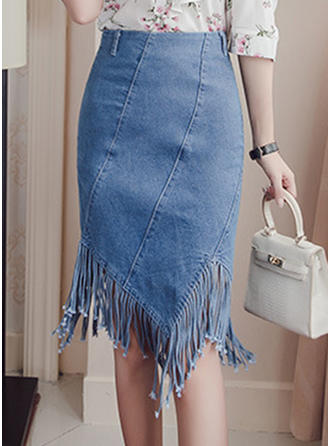 Denim Plain Knee Length Demin Skirts