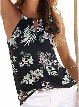 Print Floral Spaghetti Strap Sleeveless Casual Sexy Blouses
