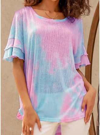 Print Round Neck Flare Sleeve Short Sleeves Casual T-shirts