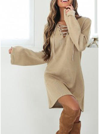 Solid Long Sleeves Shift Above Knee Sweater Dresses