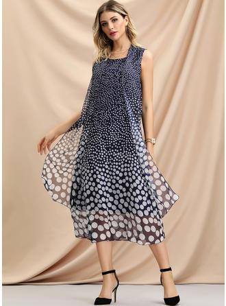 PolkaDot Sleeveless Shift Midi Casual Dresses