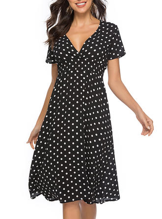 PolkaDot Short Sleeves A-line Knee Length Casual Dresses