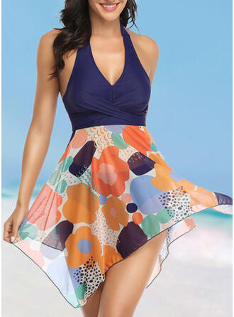Floral Print Halter V-Neck Fashionable Bohemian Swimdresses Swimsuits