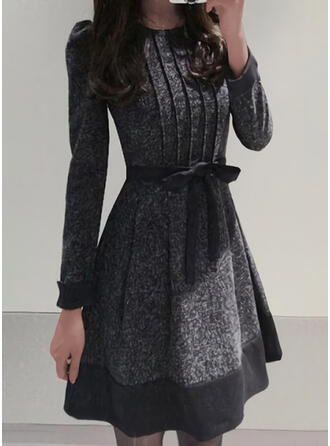 Print Long Sleeves/Puff Sleeves A-line Above Knee Elegant Skater Dresses