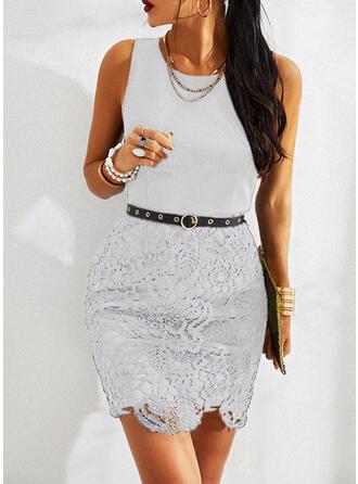 Lace Sleeveless Bodycon Knee Length Little Black/Casual/Elegant Dresses