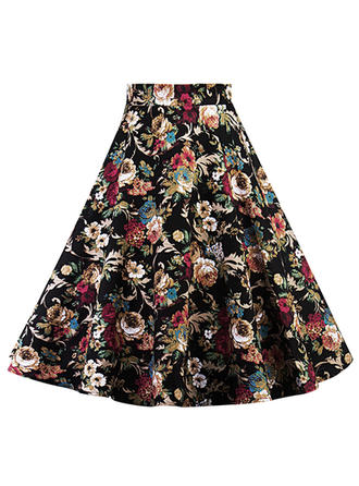 Cotton Blends Floral Above Knee A-Line Skirts