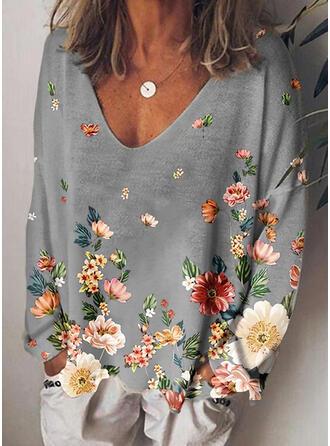 Floral Impresión Cuello en V Manga Larga Camisetas