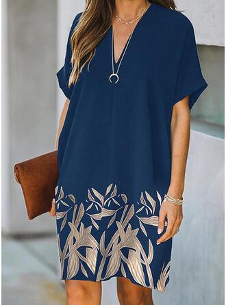 印刷/フローラル 半袖 シフトドレス 膝丈 カジュアル チュニック ドレス