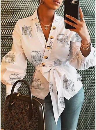 Print V-neck Long Sleeves Button Up Blouses