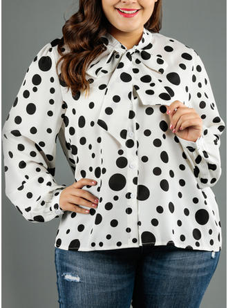 PolkaDot Round Neck Long Sleeves Button Up Casual Elegant Blouses