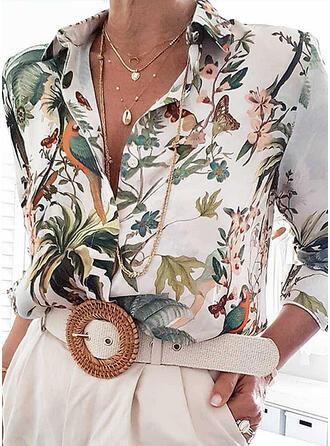 Impresión Floral Solapa Manga Larga Con Botones Casual Blusas