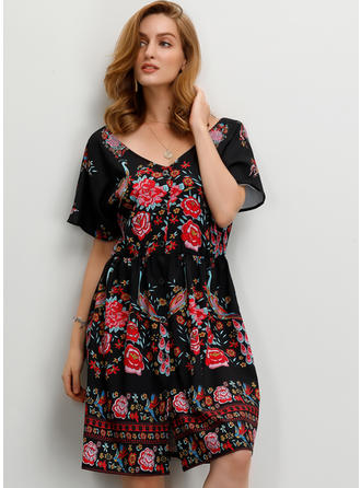 Print/Floral Short Sleeves A-line Knee Length Sexy/Party Dresses