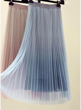 Värikäs Polvi Pituus A-Line hameet