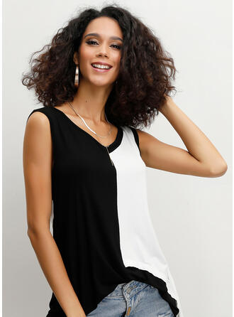 Color Block V Neck Sleeveless Casual Tank Tops